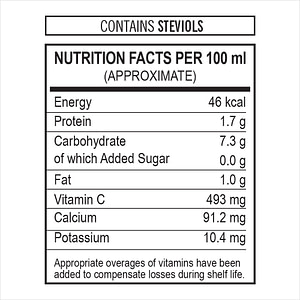 Mirakle No Added Sugar Nutrition Facts