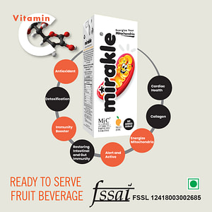 Mirakle Drink With No Added Sugar Vitamin C Energy Booster