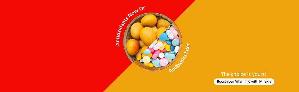 Take antioxidants now with Mirakle Drink to avoid antibiotics